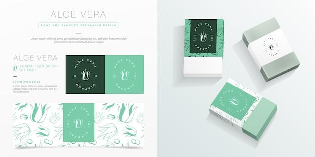 アロエベラのロゴと包装デザインテンプレート。有機石鹸パッケージのモックアップ。