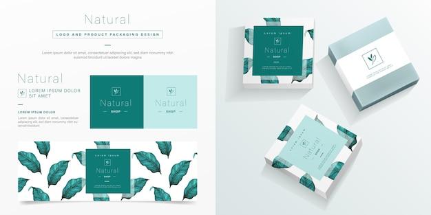 自然のロゴと包装デザインテンプレート。ミニマリストデザインのモックアップソープパッケージ。