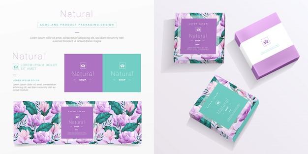 Натуральный логотип и шаблон упаковки.