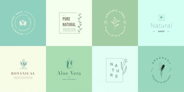 ブランディングのためのかわいい自然と有機のロゴのセット
