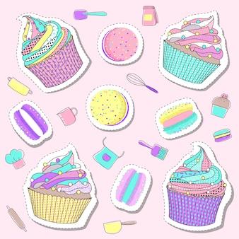 パステルカラーのかわいいベーカリーとケーキのステッカー