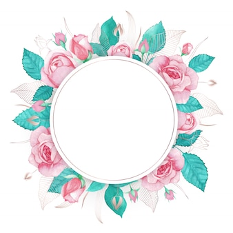 水彩のピンクのバラフレームマルチ目的の背景