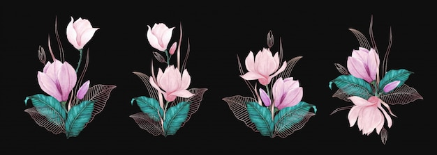 ローズゴールドライン装飾と美しい水彩花の花束