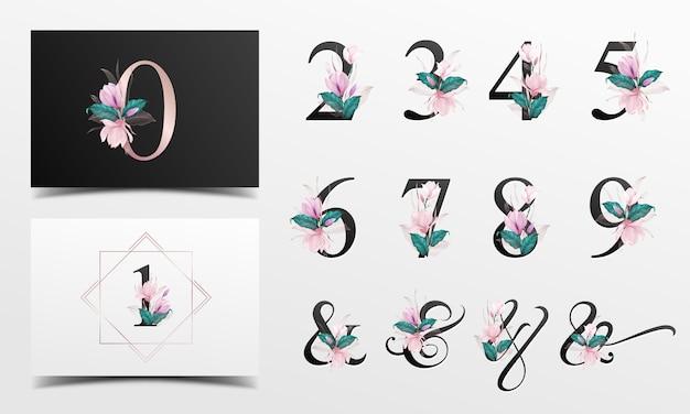 ピンクの水彩花飾り付きの美しいアルファベット番号コレクション