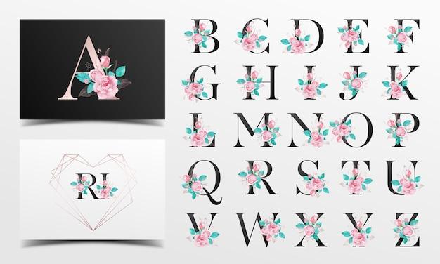 バラの水彩画の装飾と美しいアルファベットコレクション