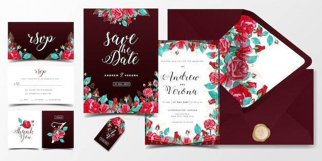 赤いバラの水彩装飾とバーガンディ色をテーマにした豪華な結婚式の招待カードテンプレート