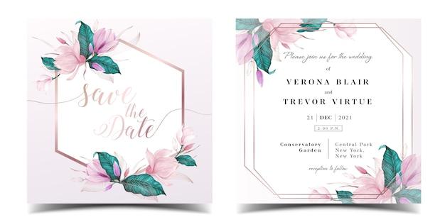 花の水彩画の装飾が施された結婚式の招待カードテンプレート