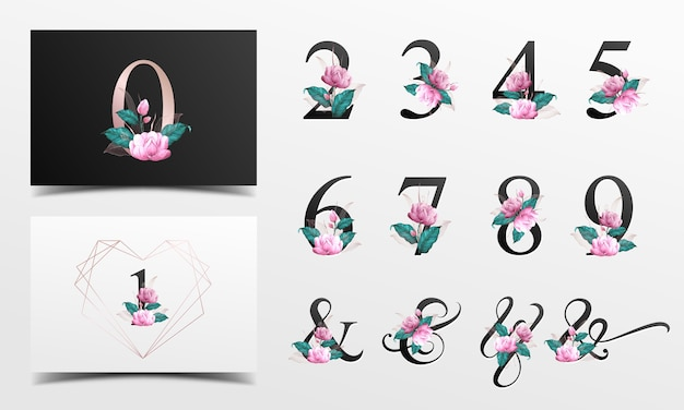 ピンクの花の水彩画で飾られた美しいアルファベット番号コレクションが描かれています。