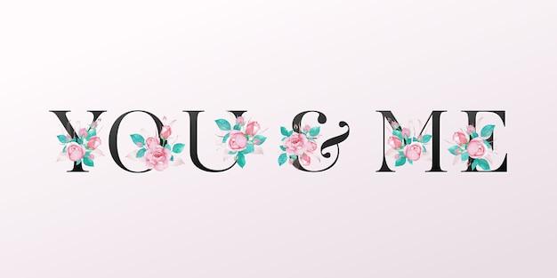 Красивый алфавит с розовой розой акварелью