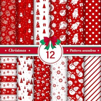 赤と白の色のメリークリスマスパターンシームレスなコレクション