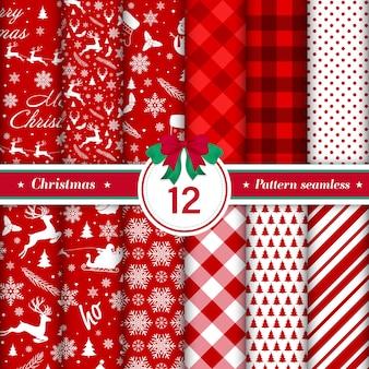 Счастливого рождества шаблон бесшовные коллекции в красном и белом цвете
