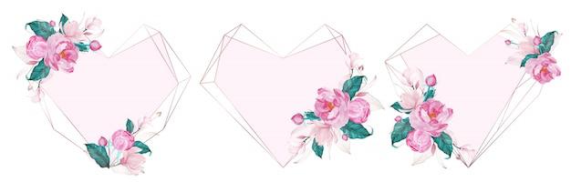 結婚式の招待カードの水彩風のピンクの花で飾られたローズゴールドの幾何学的なフレーム
