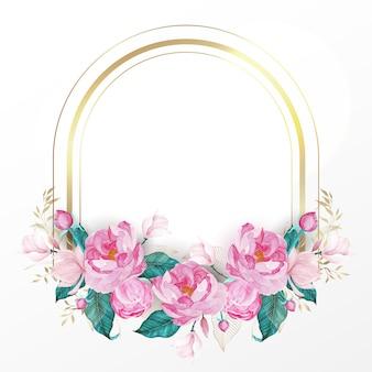 Золотая рамка украшена розовым цветком в стиле акварели для свадебного пригласительного билета