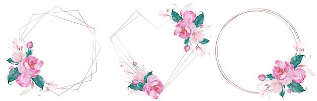 結婚式の招待カードの水彩風のピンクの花で飾られたローズゴールドの幾何学的なフレームのセット