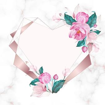水彩風のピンクの花で飾られたローズゴールドハートの幾何学的なフレーム