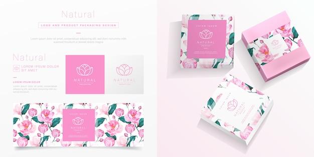 ピンクの花の包装テンプレート。