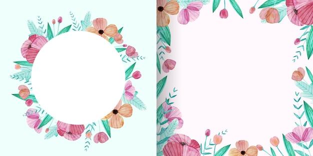 パステルカラーのかわいい水彩花フレームのセット