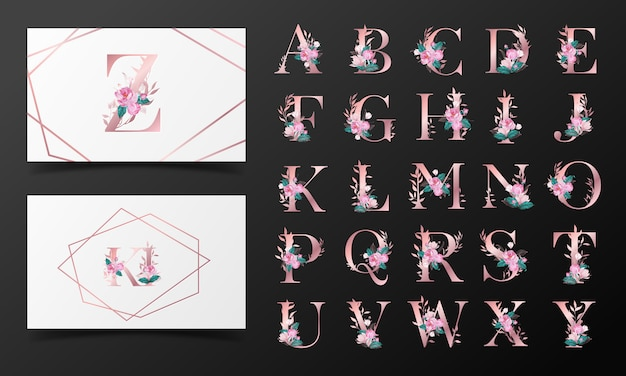 花の水彩風で飾られた美しいアルファベットコレクション