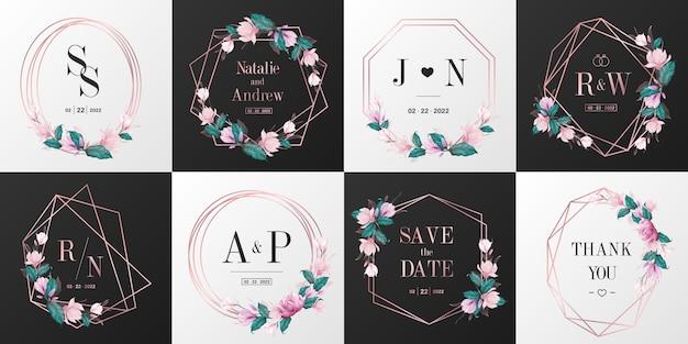 結婚式のモノグラムのロゴコレクション。招待状カードデザインのローズゴールド水彩花のフレーム。