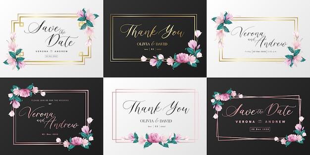 結婚式のモノグラムのロゴコレクション。招待カードデザインの水彩画の花のフレーム。