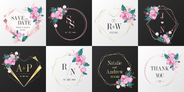 Свадебный монограмма логотип коллекции. акварель цветочная рамка для дизайна приглашения карты.