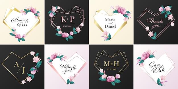 結婚式のモノグラムのロゴコレクション。招待状カードのデザインの水彩風の花で飾られたハートフレーム。