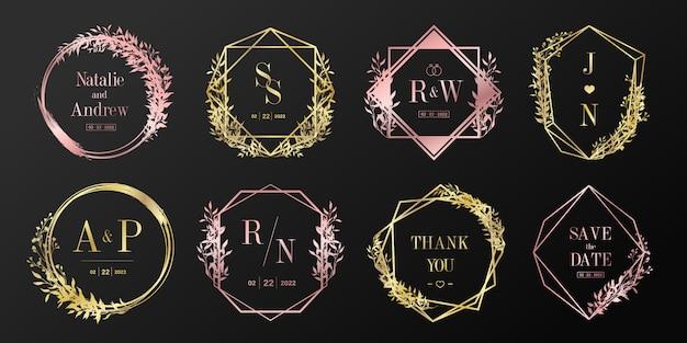 豪華なウェディングモノグラムロゴコレクション。ブランディングのロゴと招待状のカードデザインの花のフレーム。