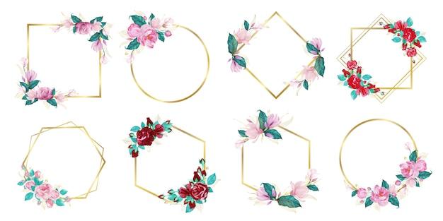 結婚式のモノグラムのロゴとブランドのロゴデザインの水彩画の花のフレームのセット