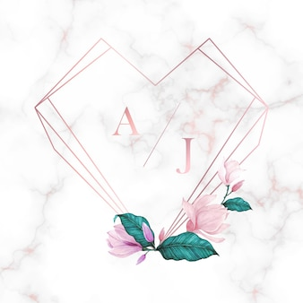 結婚式のモノグラムのロゴデザインテンプレートです。招待カードデザインの水彩画の花のフレーム。