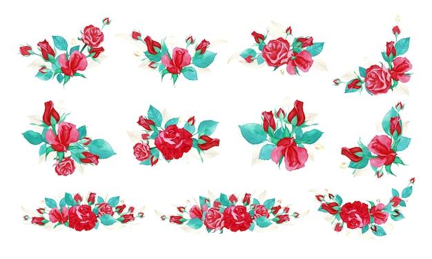 結婚式の招待状やグリーティングカードの水彩風のバラの花束のバンドル。