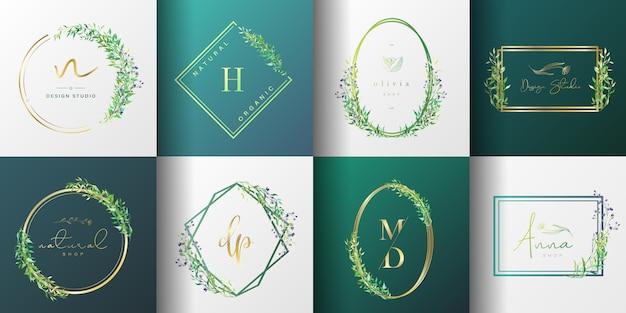 Натуральная и органическая коллекция логотипов для брендинга, фирменного стиля, упаковки и визиток.