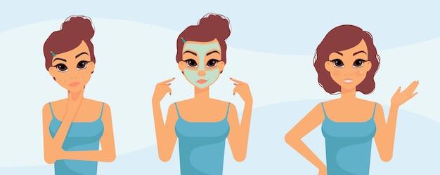 にきびを避けるための女性のスキンケアルーチン