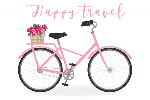 Симпатичная иллюстрация велосипеда для летней темы - векторная графика
