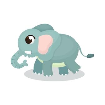 漫画スタイルでかわいい象の図のイラスト