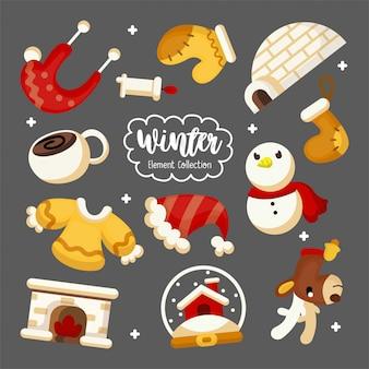 漫画スタイルの冬の要素のイラストセット
