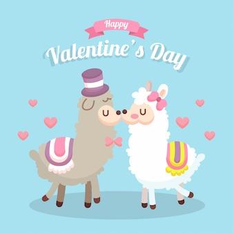 動物カップルイラストバレンタインカード
