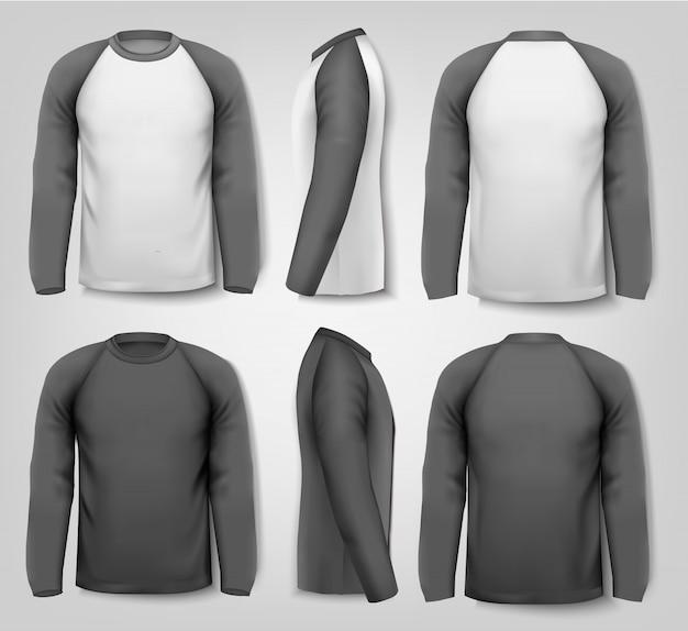 黒と白の男性長袖