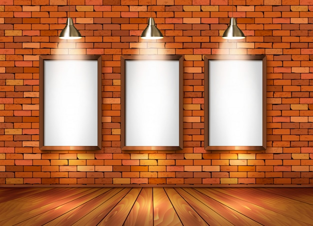 Кирпичный выставочный зал с точечными светильниками.
