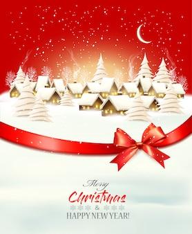 Праздничный рождественский зимний фон с деревенским пейзажем и красным подарочным бантом и лентой. ,