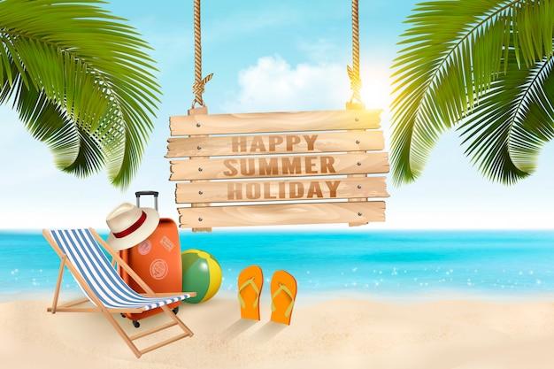 Летние каникулы концепции фон. туристические товары на пляже. ,