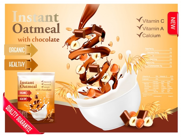 チョコレートとヘーゼルナッツの広告コンセプトのインスタントオートミール。穀物とナッツの入ったボウルに牛乳が流れ込みます。 。