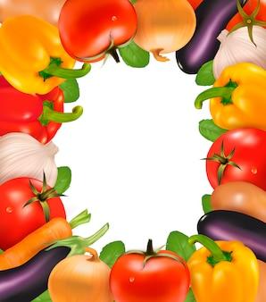 野菜で作られたフレーム。図