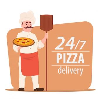 シェフ料理ピザ