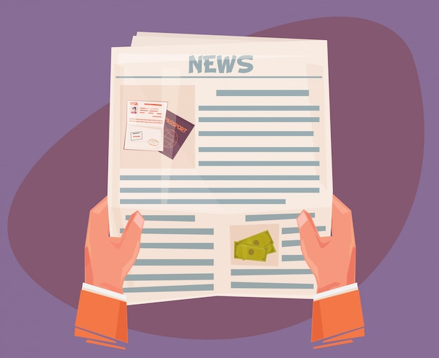 Деловой человек руки, держа газету с новостями