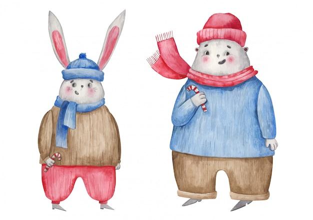クリスマスキャラクターノウサギとクマ、白い背景の上のクリスマスのお菓子水彩イラスト
