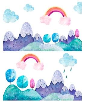 山の風景の水彩イラスト。