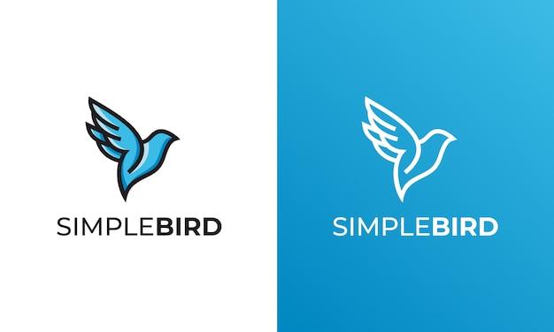 シンプルな鳥ラインアートロゴデザインベクトルインスピレーション