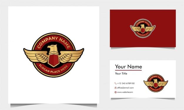 Орел с щитом безопасности логотип дизайн вектор