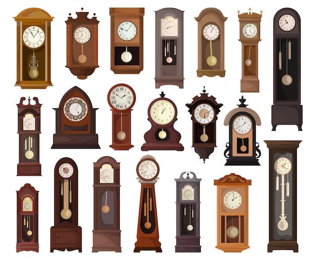 アンティーク時計分離漫画セットアイコン。白い背景の上の図の古い時計。漫画セットアイコンアンティーク時計。