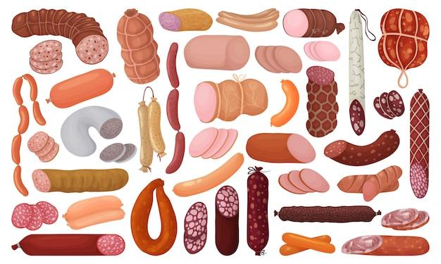 Колбаса изолированных мультфильм установить значок. иллюстрация сосиски на белом фоне. мультфильм установить значок колбаса.